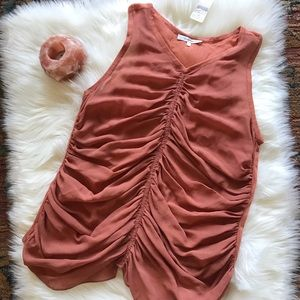 Carven Silk Road Ruched Terracotta Boho Tank Top